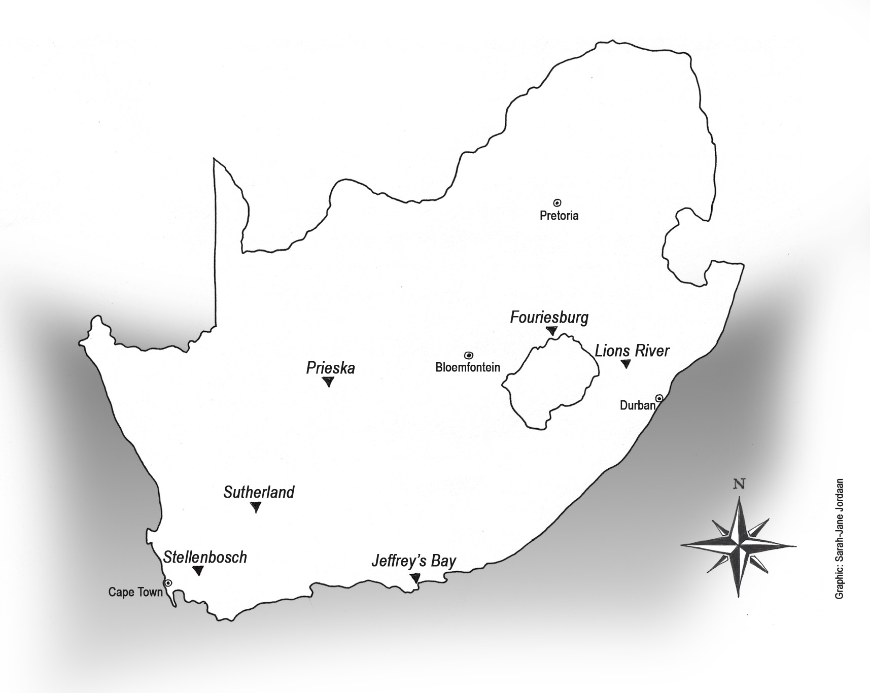 map by sarah-jane jordaan marking position of far-flung vineyards in  relation to stellenbosch, and major centres